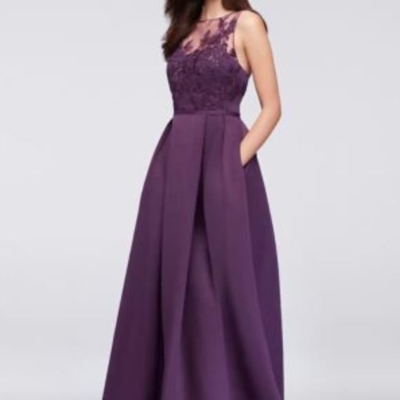 8670fbd3a3 Appliqued Illusion Faille Bridesmaid Dress Plum. M 5c81aac6df0307dac5ad41a4
